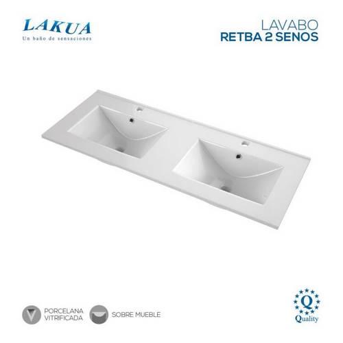 LAVABO LAKUA CERAMIC RETBA 121X46 2-SENOS